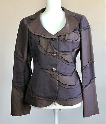 size 10 Vintage Cheap and Chic by MOSCHINO Linen & Silk Blazer Made In Italy