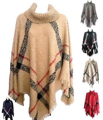 NEW Women Batwing Top Poncho Knit Cardigan Turtle Neck Sweater Cape Coat Outwear (Acrylic Sweaters)