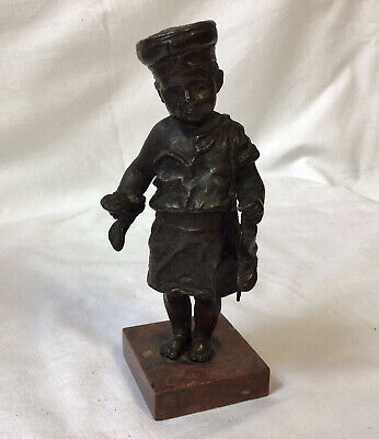 """Antique Detailed Bronze Metal Figure Boy With Boots In Hand Height 16cm (6.1/4"""")"""