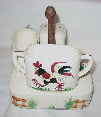 Vintage Salt, Pepper Shakers, Sugar, Creamer and Carrier with Rooster