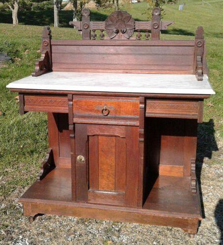 Antique Walnut Victorian Eastlake White Marble Top Washstand 1870s Rare