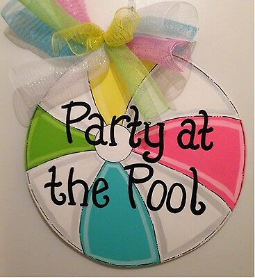 Summer wreath,Beach Ball door hanger,beach decor,nautical door decor,Pool sign