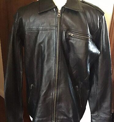 Men's Lambskin Leather Motorcycle  Biker Lined Jacket Black Size L Fitted Lined Lambskin Leather