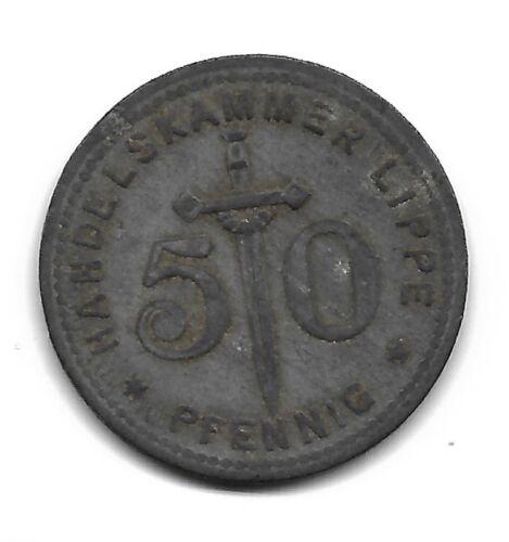 Germany,Stadt Handelskammer Lippe 50 Pfennig 1917, Emergency coin,War money