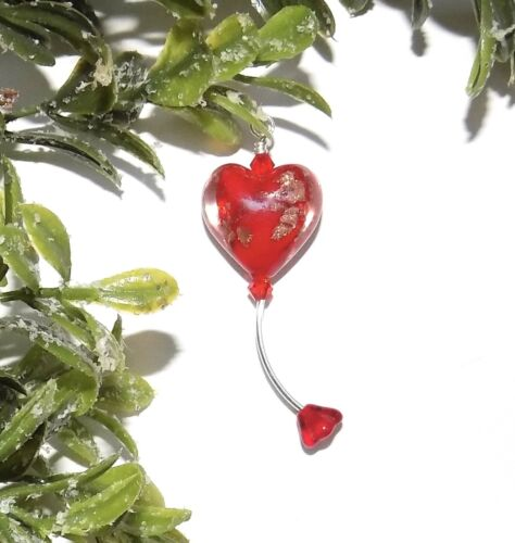 Unique Fairy Garden Miniature Heart-Shaped Red Glass Hummingbird Feeder