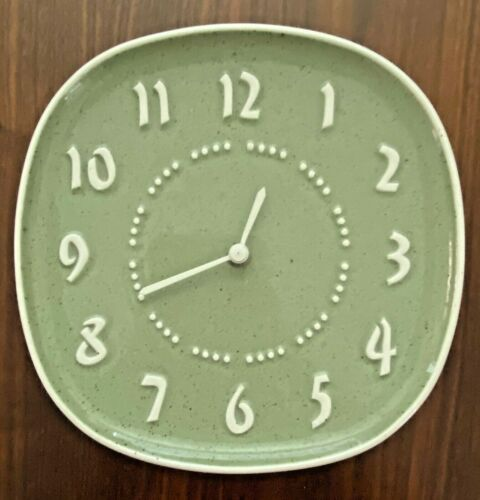 Russel Wright Meadow Green Ceramic Clock Face Plate by Harker Ware Works Great!