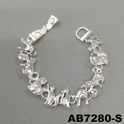 Animal Feline Cat Charms Silver Finish Magnetic Closure Bangle Wrist Bracelet