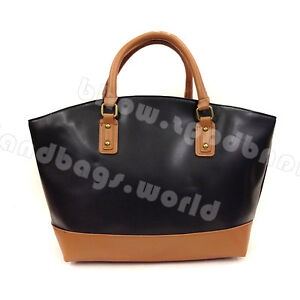 Ladies Celebrity Vinta Black Brown Leather Style Basket Bucket Shopper Tote Bag