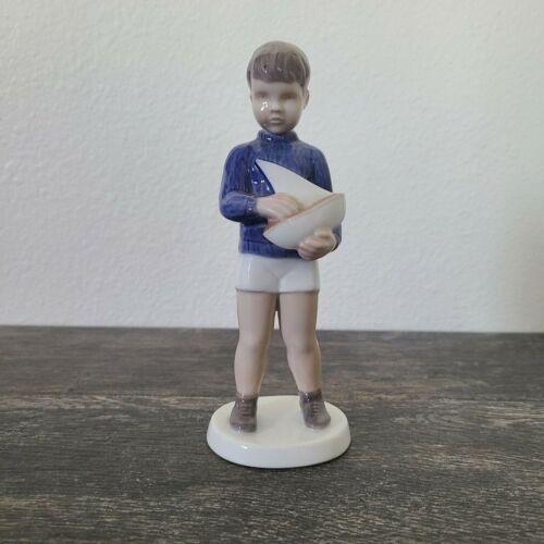 B & G Porcelain Denmark Bing & Grondahl Boy with Sailboat Figurine #2380