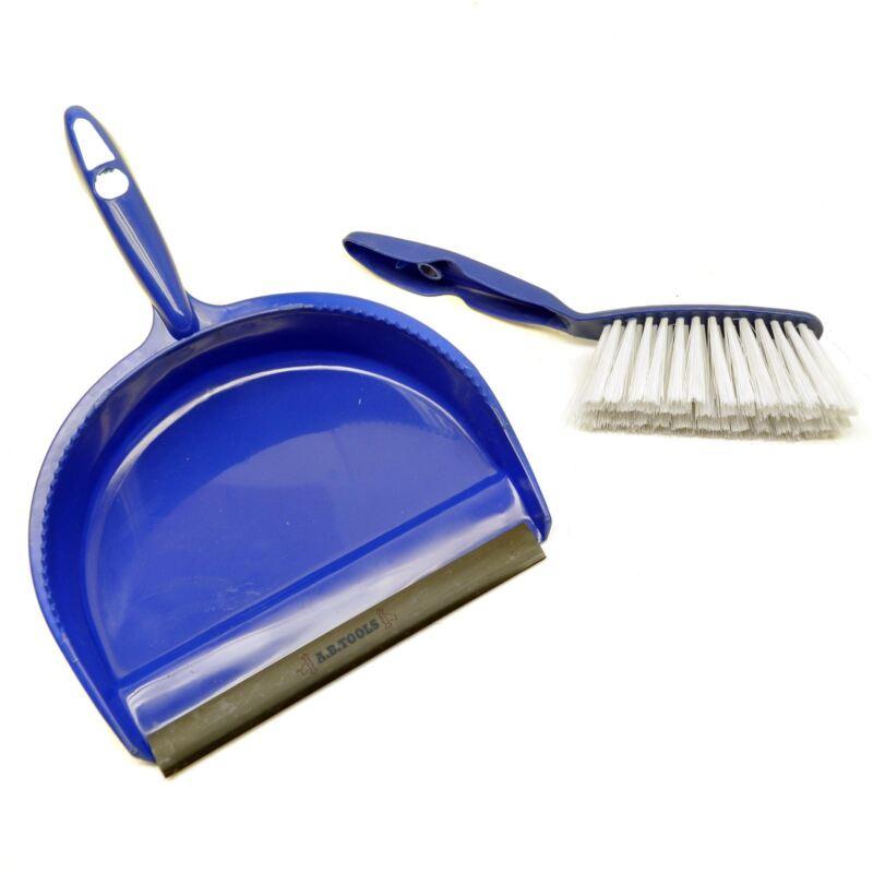 Blue Dust Pan and Brush set Dustpan Dust Sweeper Soft Nylon Bristles Sil173