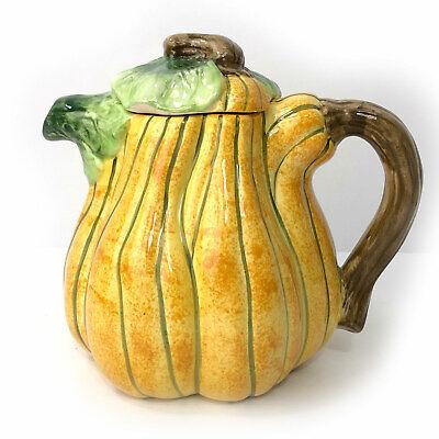 "UNIQUE World Bazaar 7"" Ceramic Squash Shaped 4 Cup Teapot Pumpkin Gourd"