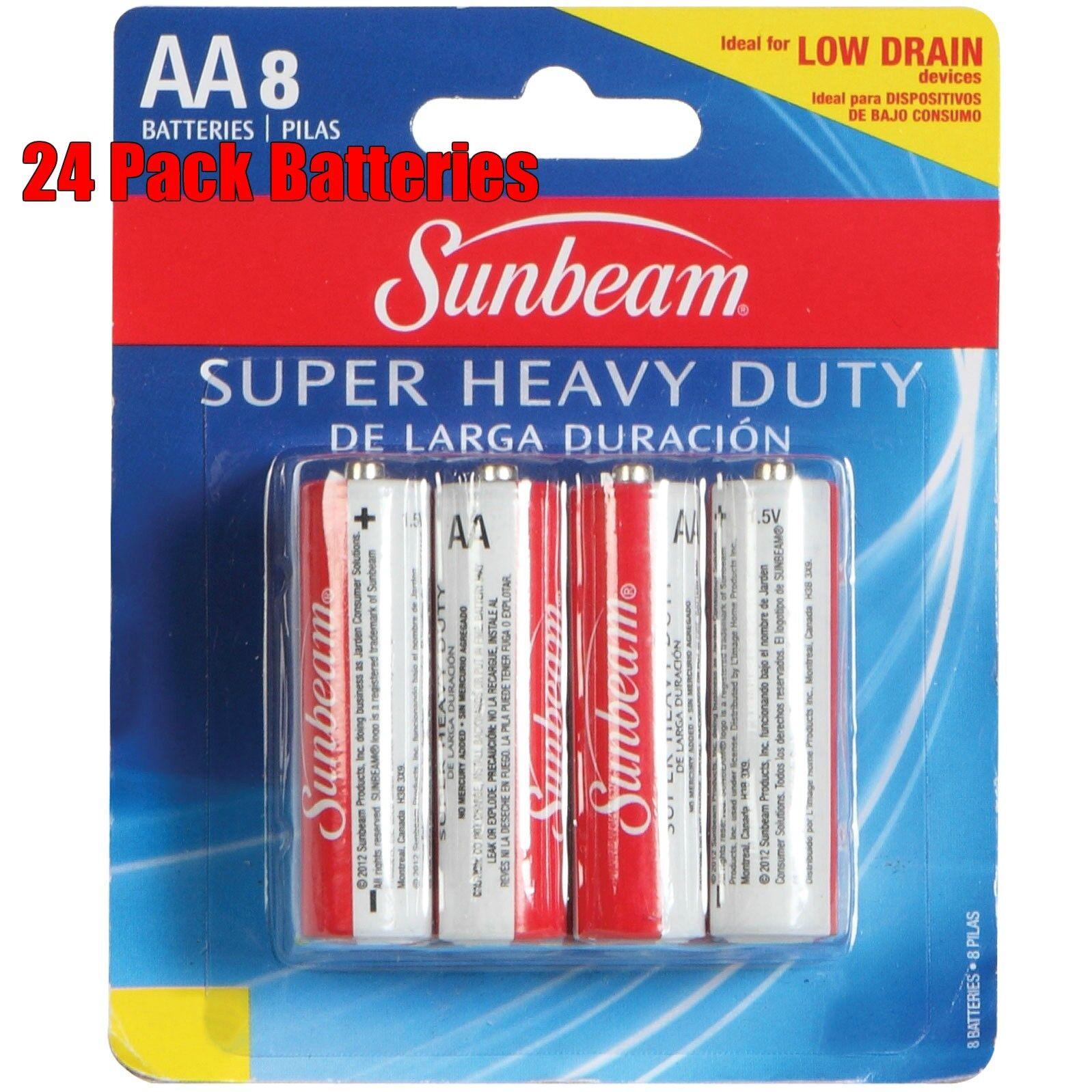 24 Pack Sunbeam AA Alkaline Batteries Extra Heavy Duty 1,5v