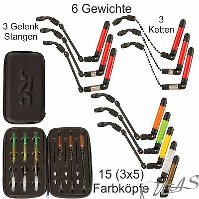 JRC Kurve Slim Indicator Black Neon 3er Set Bissanzeiger + Gewichte 5 Farben Kva