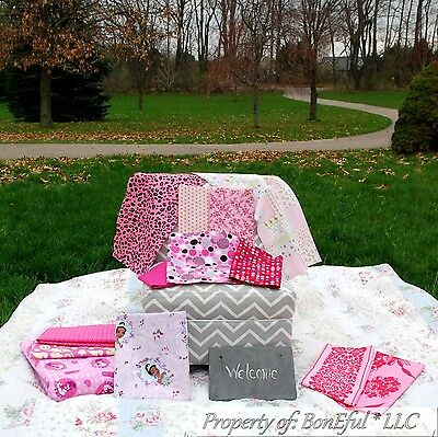 BonEful Fabric 100% COTTON QUILT BOX Scrap PINK Flower Calico Dot 4H Girl Scout