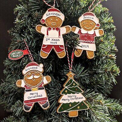 Personalised Christmas Tree Decorations Gingerbread Man Santa First Xmas Baubles Gingerbread Men Decor