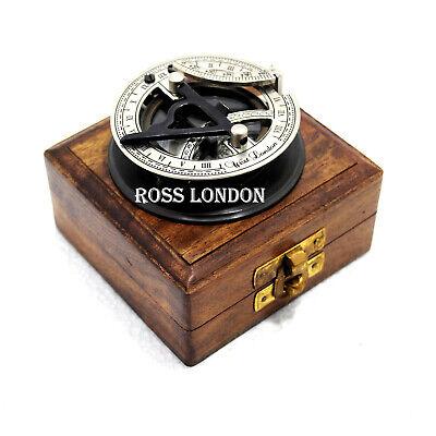 Brass Sundial Compass w//Wood Case Gilbert Sundial Camping Compass Halloween Gift