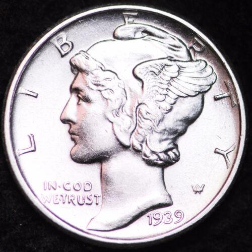 1939-D AU MERCURY DIME / DENVER MINT ALMOST UNCIRCULATED 90% SILVER COIN