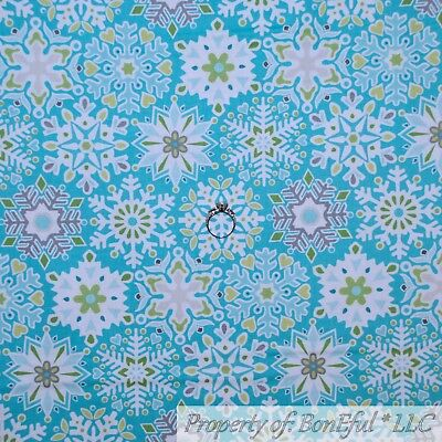 Scene Quilt Fabric - BonEful FABRIC FQ Cotton Quilt Aqua Blue White Green Snow*Flake Winter Scene Dot