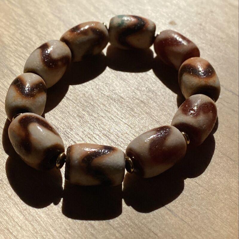 ANTIQUE OLD TIBETAN Red 10 TIGER TEETH AMULET DZI BEAD Bracelet