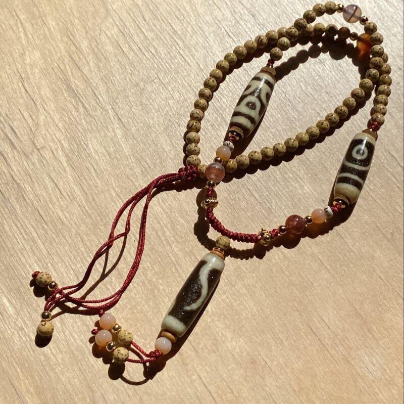 ANTIQUE OLD TIBETAN 2 EYE, LUCKY HOOK, 6 LOTUS AMULET DZI BEAD Necklace