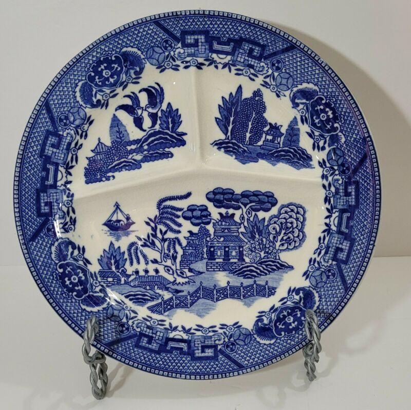 Antique Moriyama Blue Willow Divided Plate Made in Japan 10.125""