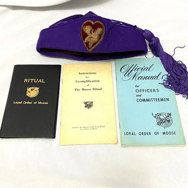 Loyal Order of Moose Ceremonial Tah Hat Fez w Tassel Ritual Book Manual Instruc