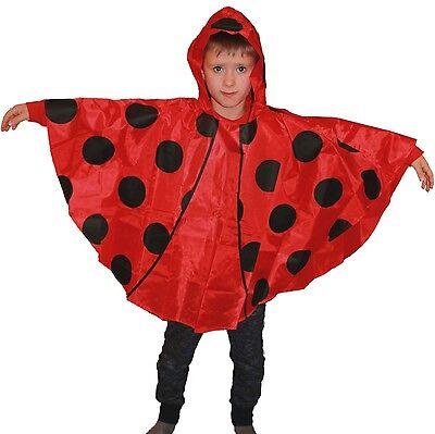 Regenponcho für Kinder Marienkäfer Poncho rot mit schwarzen Punkten Regencape