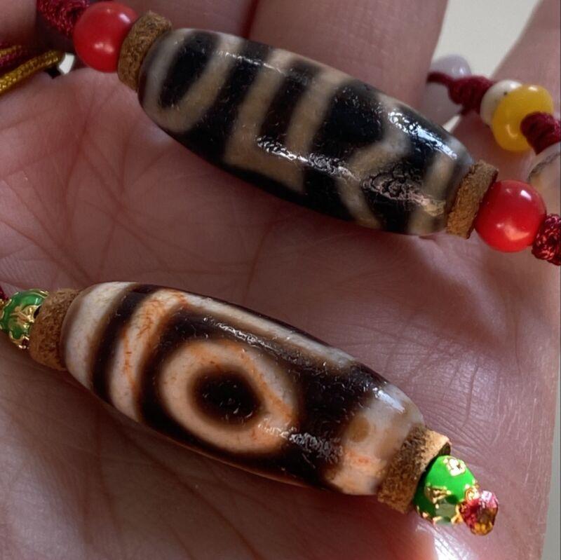 ANTIQUE OLD TIBETAN 1 EYE 1 MOUNTAIN, 4 BUDDHA ACTIVITY AMULET DZI BEAD Necklace