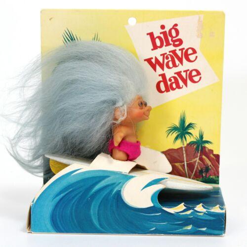 "VTG Troll Doll Bunallan Inc ""BIG WAVE DAVE"" Surfer Blue Hair in original package"