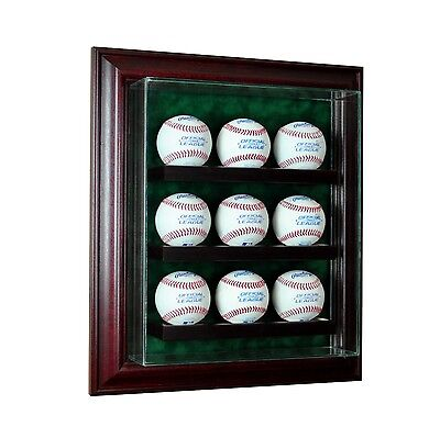 New 9 Baseball Cabinet Style Display Case Glass Suede MLB Proudly made in USA Baseball Cabinet Style Display Case