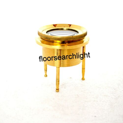Desk Lens Magnifier 4 Inch Brass Chart Map Glass Magnifying Nautical Style Gift