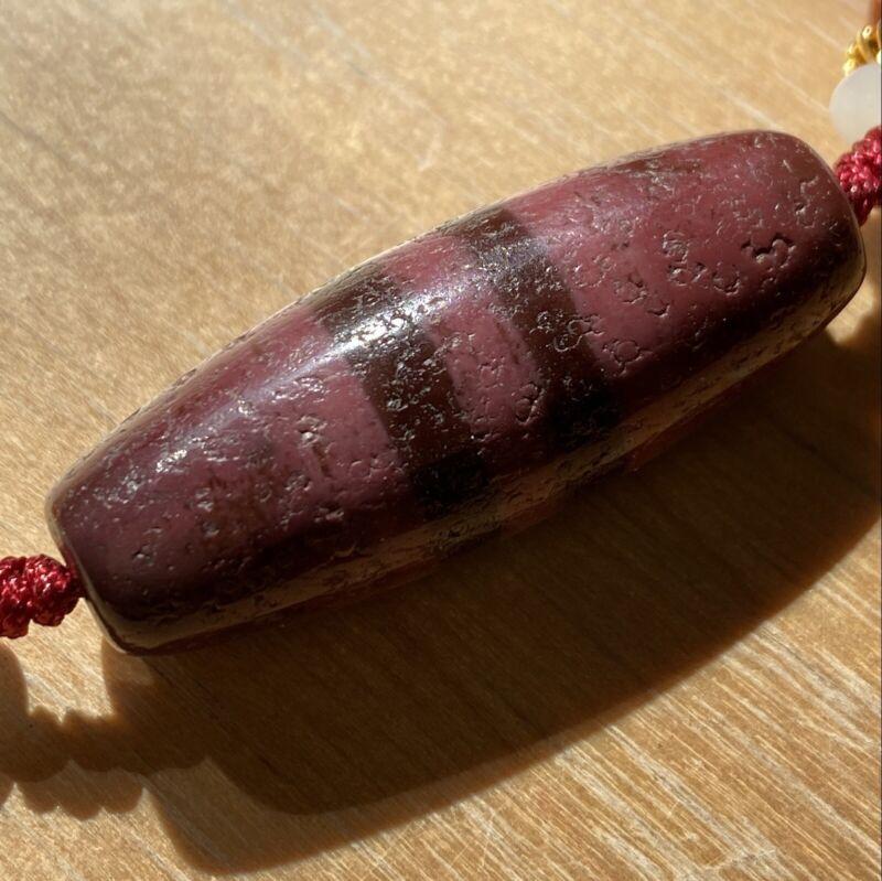 ANTIQUE OLD TIBETAN Purple 2 STRIP AMULET DZI BEAD Necklace
