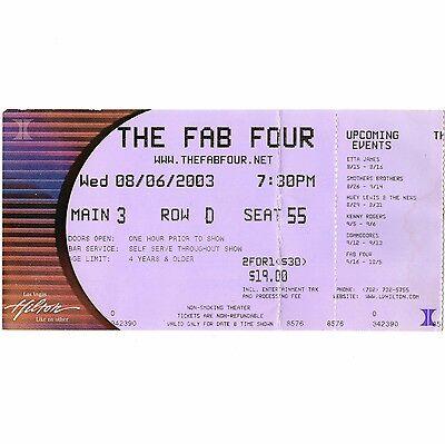 THE FAB FOUR Concert Ticket Stub LAS VEGAS NEVADA 8/6/03 HILTON BEATLES TRIBUTE