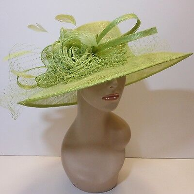 New Church Kentucky Derby Sinamay Wide Brim Dress Hat 3042 Lime Green