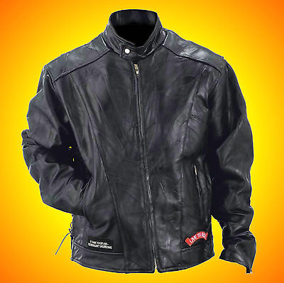 Leather Motorcycle-Biker Jacket-FREE Leather Cap with Purchase-Jacket = Mens 4XL