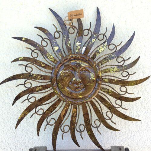 Wandbild Sonne  Ø 48 cm ArtFerro Handarbeit Metall Garten Deko Wanddeko Terrasse