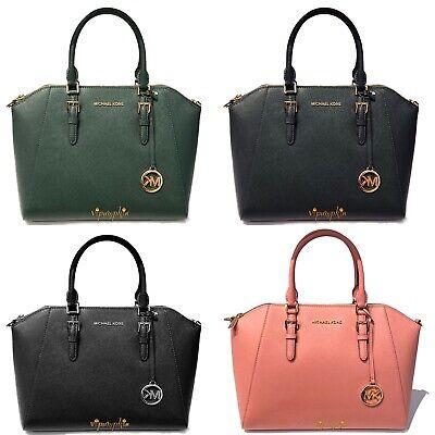 Michael Kors Ciara Large Satchel Top Zip Saffiano Leather Bag Zip Leather Satchel