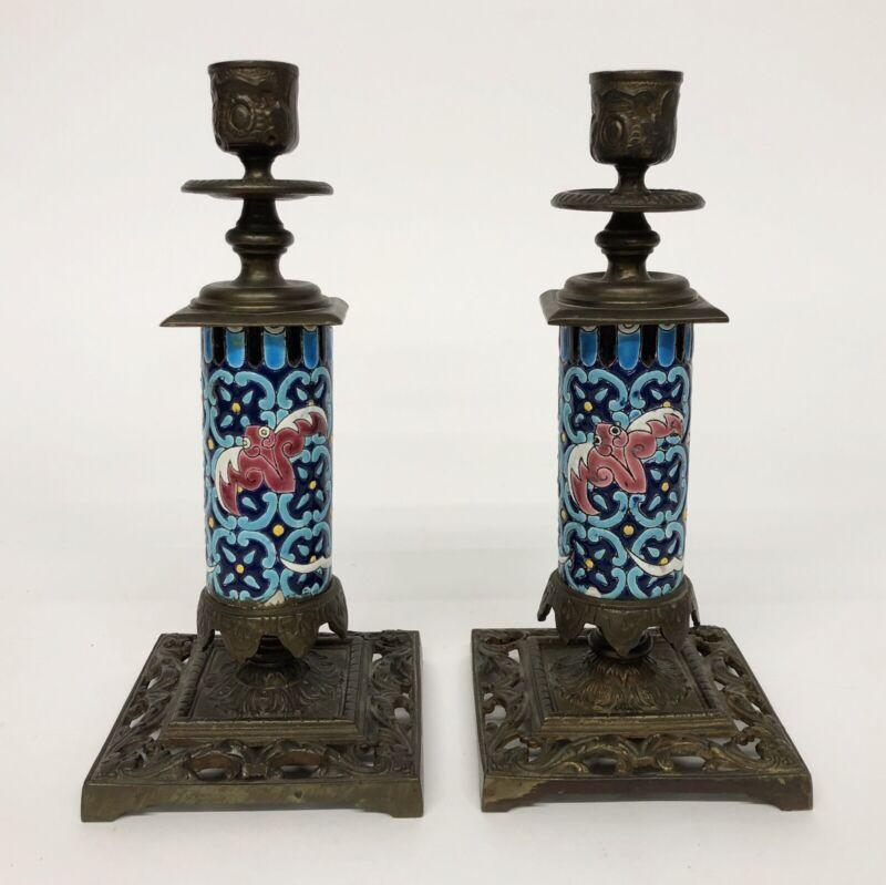 2 LONGWY Pottery Bat Gargoyle Candlestick Vintage Candle Holders Pair