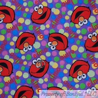 BonEful FABRIC FQ Cotton Quilt Purple Rainbow Red Elmo Face Polka Dot Boy Girl S Polka Dot Elmo