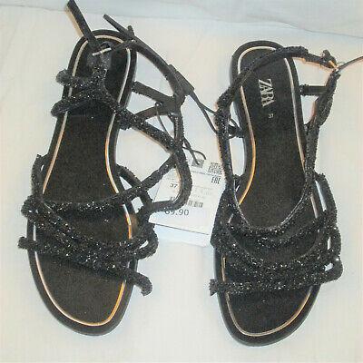 Zara Womens Strappy Black sandals  NWT 37 US 6.5  $69 Ret.