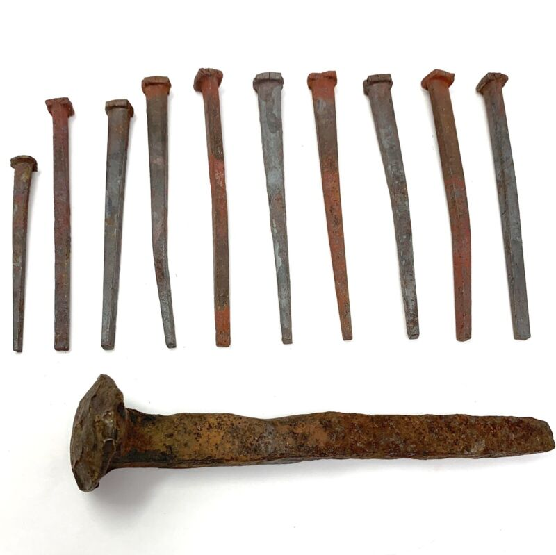 10 Vintage Rusty Spikes Nails Steel + 1 Large Railroad Tie