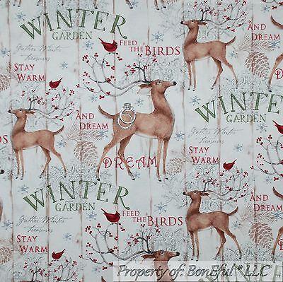 BonEful Fabric FQ Cotton Quilt Country Deer Red Cardinal Bird Berry Xmas Tree US
