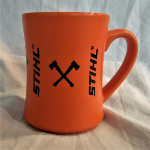 Stihl 14 Oz Orange w Axes Coffee Mug - New - Garage Mechanic Lumberjack