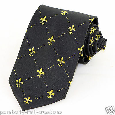 Fleur Di Lis Mens Necktie Mardi Gras Neck Tie Fashion Dress Black Gold Gift New