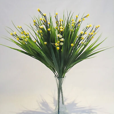 Set of 3 Artificial Sword Grass Bushes With Yellow Gypsophila - 30 cm Flower  Bushes With Yellow Flowers