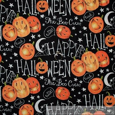 BonEful Fabric FQ Cotton Quilt Black White B&W Chalkboard Pumpkin Halloween Word