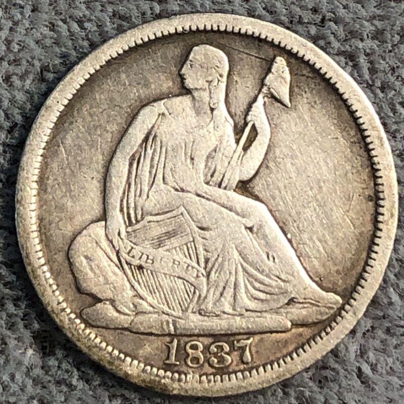 1837 Seated Liberty Half Dime. Large Date, No Stars. Recut Date.
