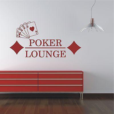 WANDTATTOO Wandaufkleber  Poker Kartenspiel Spielkarten Schriftzug Motiv 248 XL