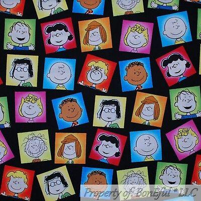 BonEful Fabric Cotton Quilt Baby Block Stripe Charlie Brown Peanut Rainbow SCRAP