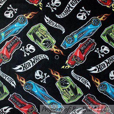 BonEful Fabric Fleece BTHY 1/2 Yd Boy Hot Wheels Car Skull Crossbone Fire Mattel](Hot Wheels Fabric)